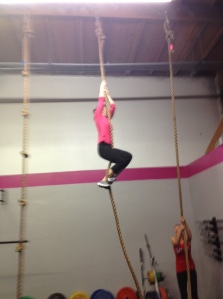 Jamie F. getting her first rope climb!